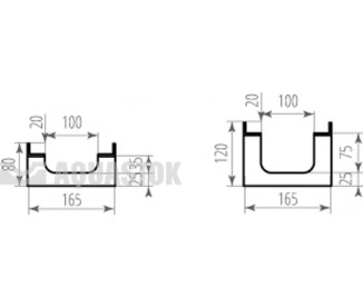 Лоток водоотводный бетонный ЛВБ Optima 100 №0/1 тип 2